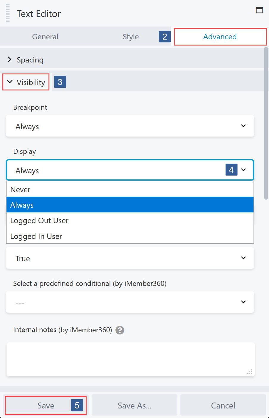 Specify Module/Column/Row Display Settings