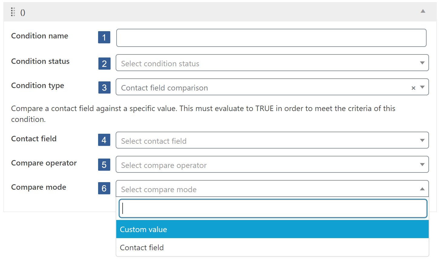 Steps for specifying contact field comparison condition