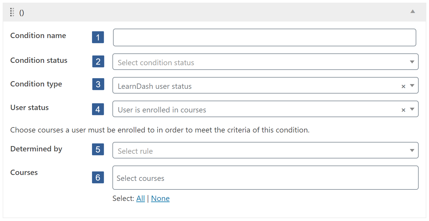 Steps for specifying the LearnDash user status condition