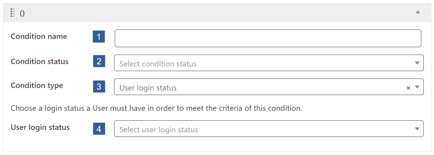 Steps for specifying User login status condition