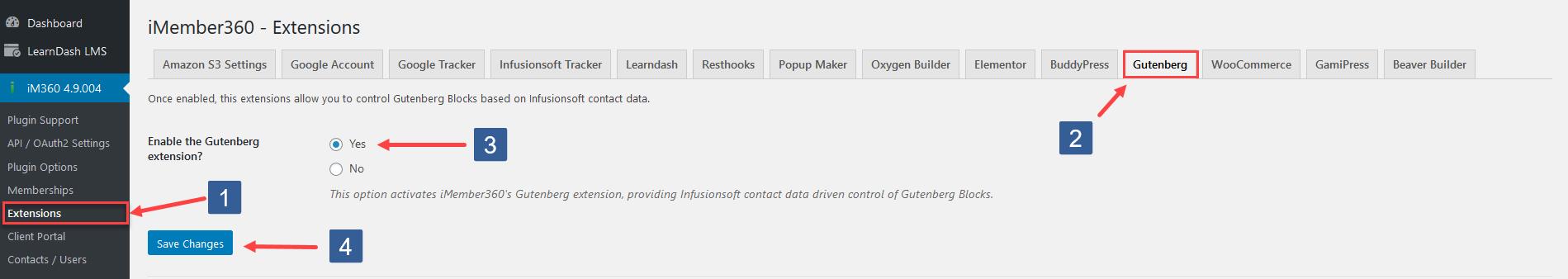 Activate Gutenberg extension