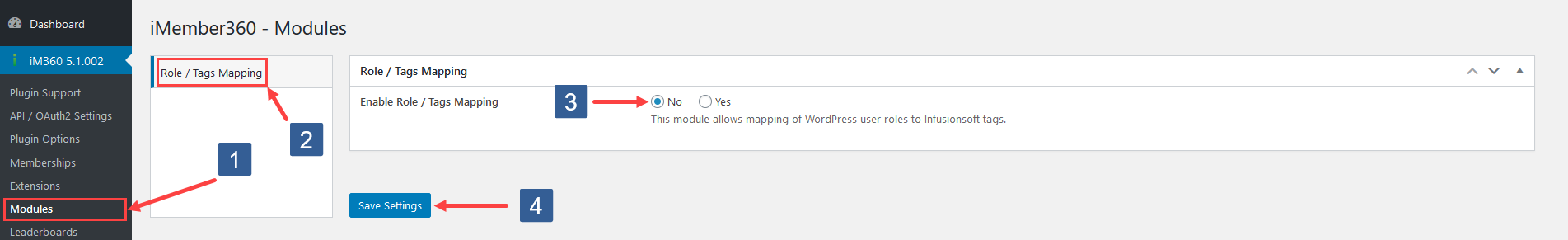 Steps to activate Role To Tags Mapping module