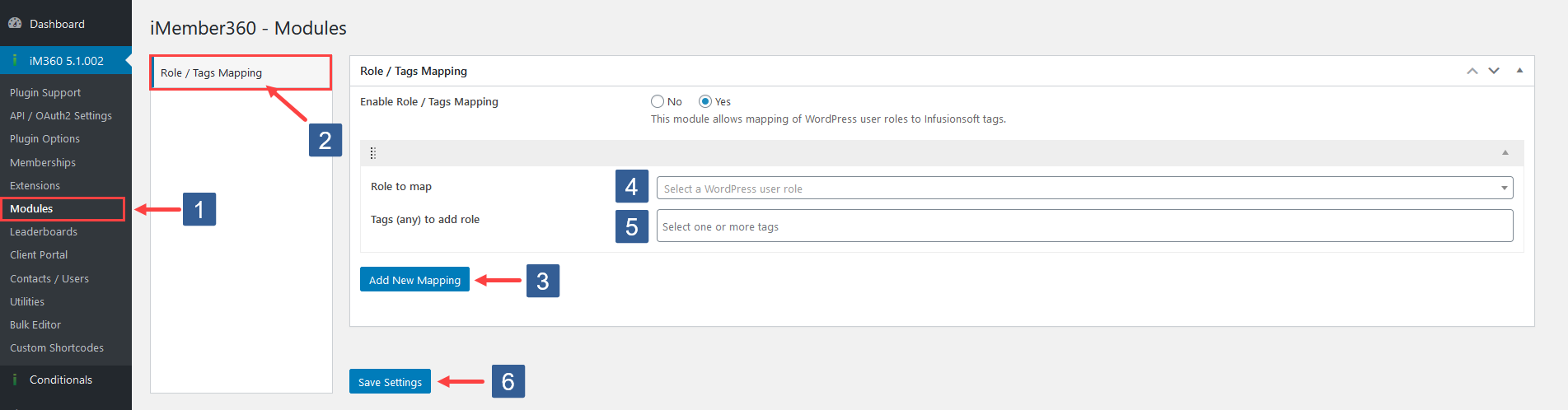 Steps to add Role To Tags Mappings
