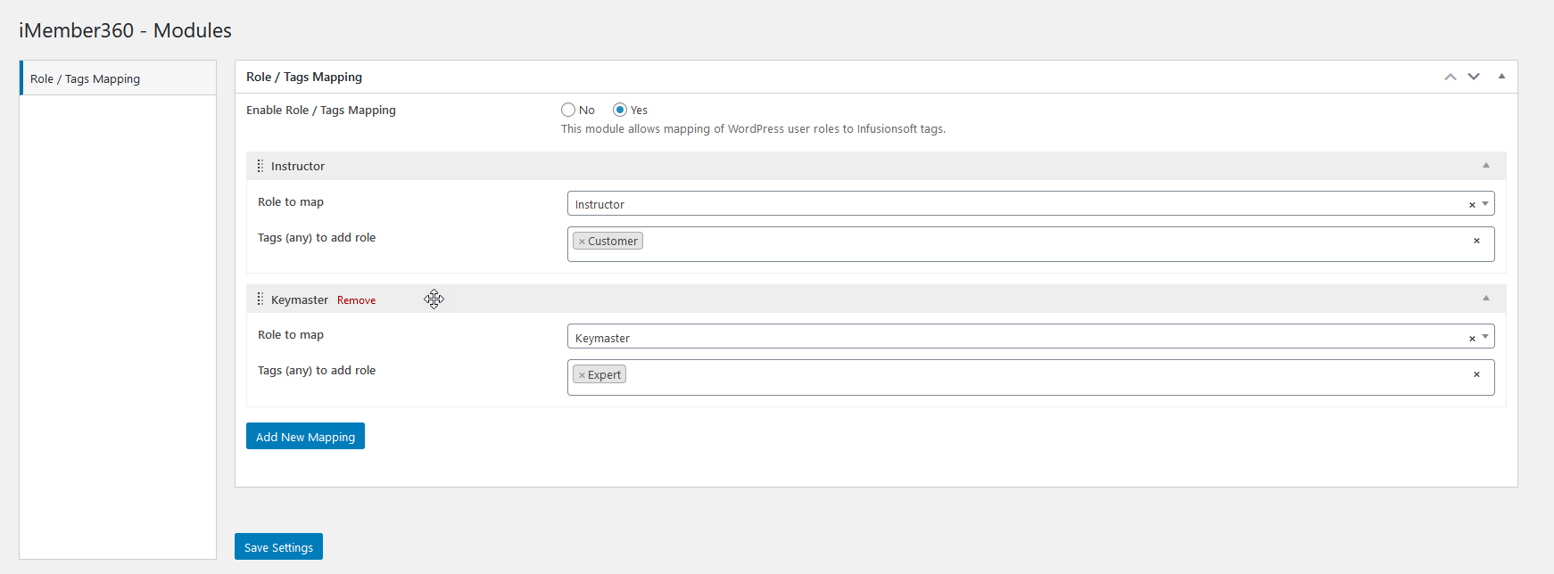 Steps for reordering role/tags mappings